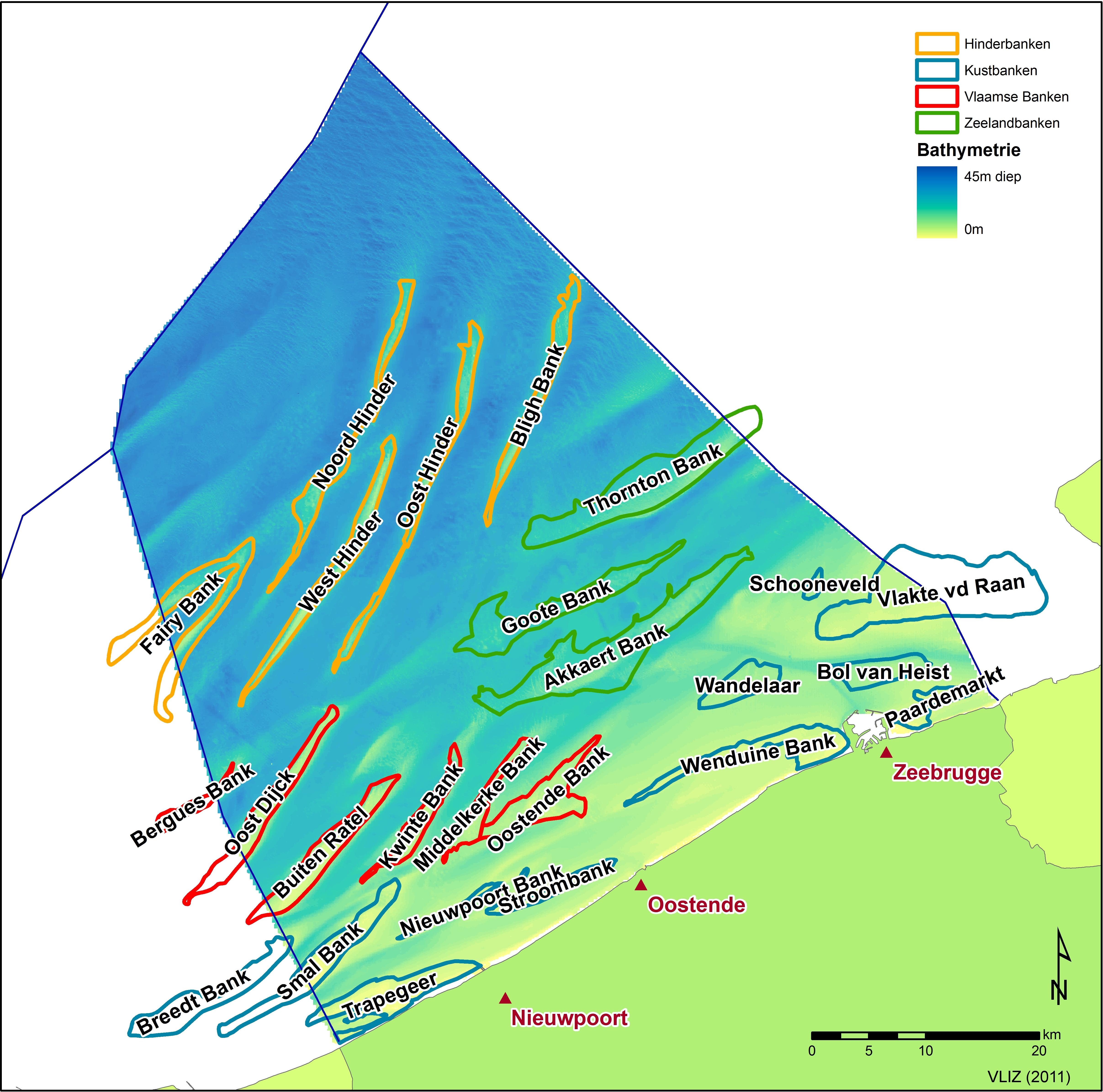 bathymetry of the belgian continental shelf