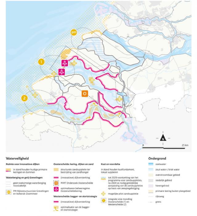 Deze figuur geeft de voorkeursstrategie Waterveiligheid voor de Zuidwestelijke Delta zoals beschreven in het deltaprogramma 2015.