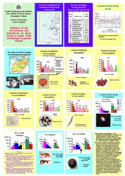 Pollution of the environment and hydrobionts by heavy metals in region of the archipelago Argentina islands