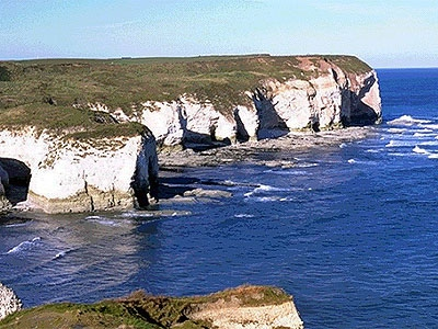 Extensive chalk cliffs at Flamborough Head
