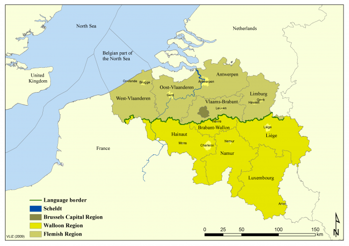 Administrative map of Belgium