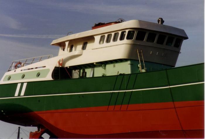 Brug en romp Z.186 Shannon (Bouwjaar 1991) in aanbouw