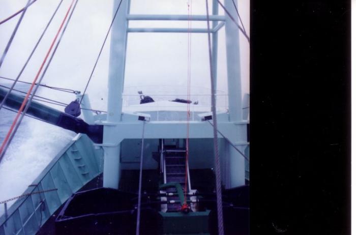 Zicht vanop brug Z.186 Shannon (Bouwjaar 1991) tijdens proefvaart.