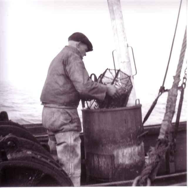 Garnaalvisser bij kookketel (douche)