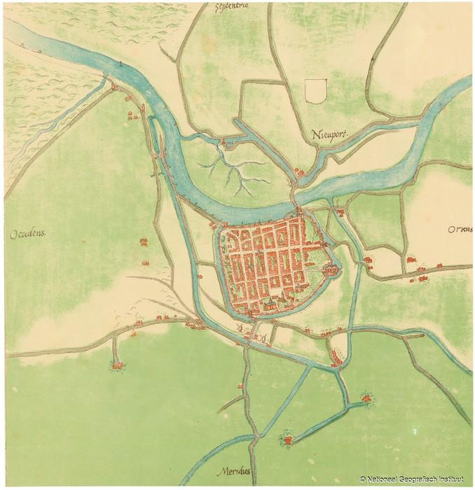 Stadsplattegrond van Nieuwpoort 1550-1570