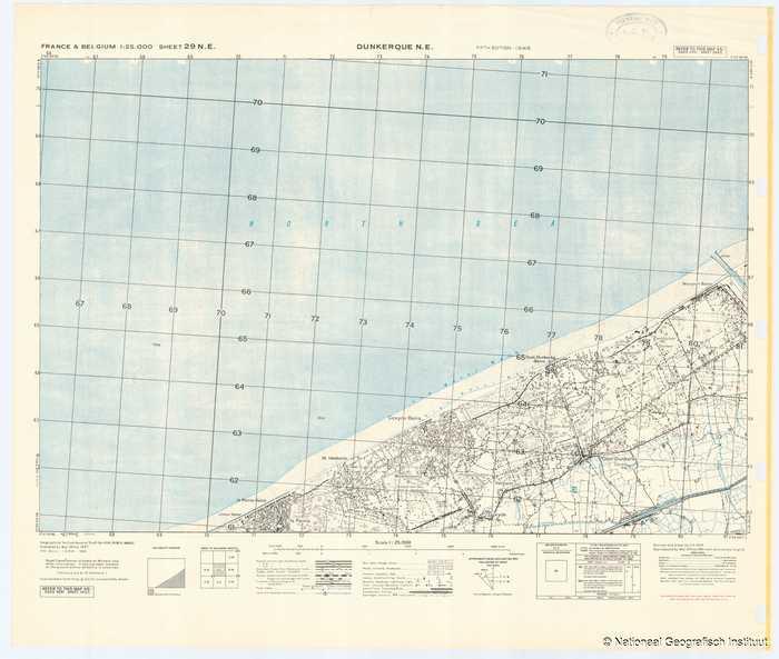 France & Belgium 1:25,000 Sheet 29 N.E. Dunkerque N.E. - 1944