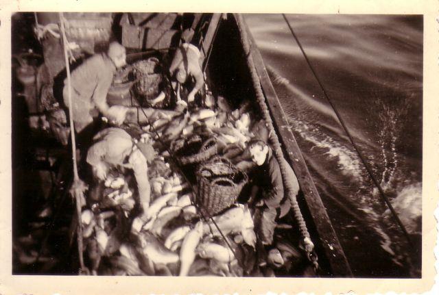 Bemanning met vangst aan boord