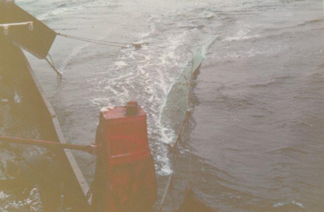 Wegzetten van viskor en visplanken op de Z.405 Kamina (Bouwjaar 1955)