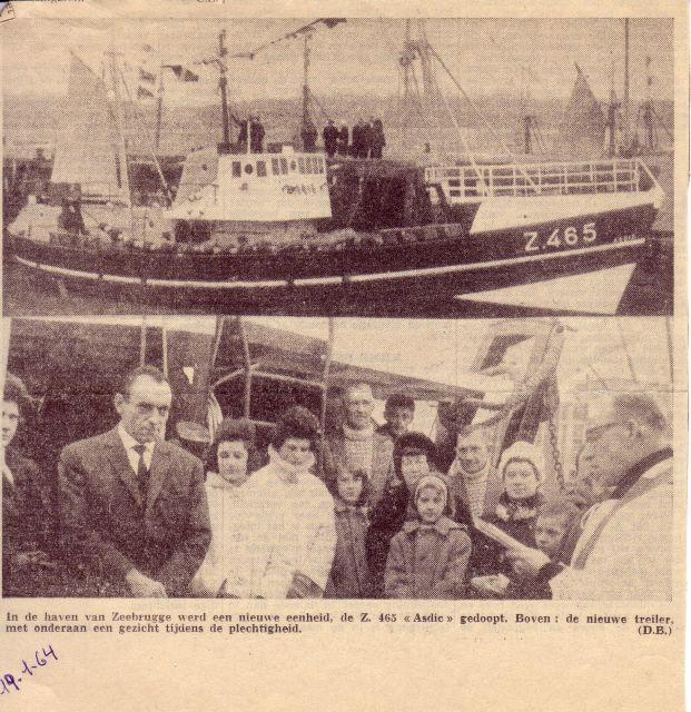 Doop Z.465 Asdic (Bouwjaar 1963) in haven Zeebrugge