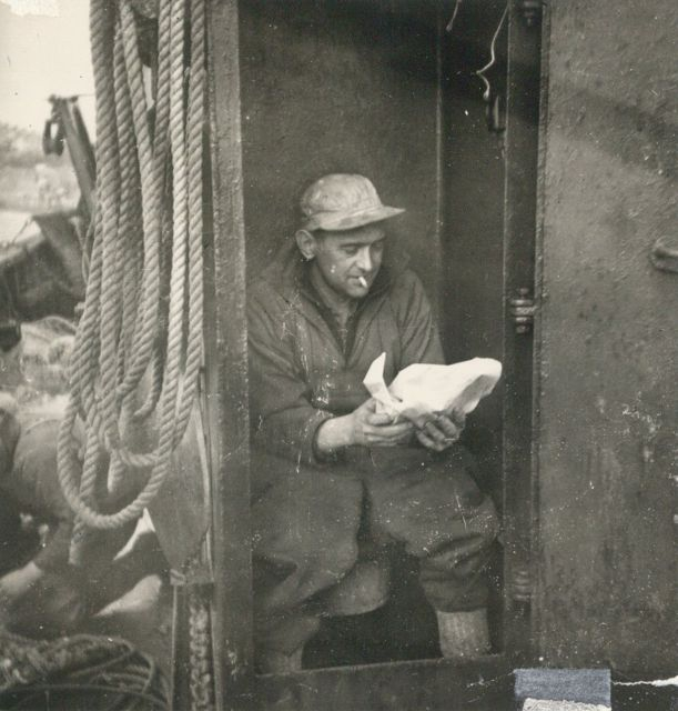 Charles Dekoninck aan boord van de Z.562