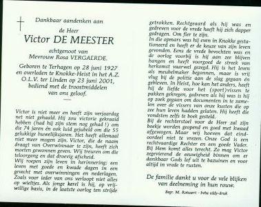 Rouwkaartje Victor de Meester