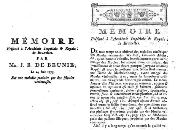 'Mémoire sur une maladie produite par des moules vénimeuses'
