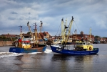 Trawlers in the Oostende harbour