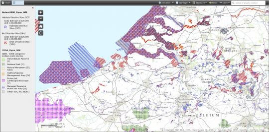 Beschermde gebieden in de Schelde (Natura 2000: Habitat Directive, Bird Directive,...) in 2013