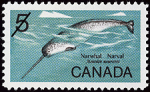Canadian Postage Stamp (1968): Narwhal, Monodon monoceros