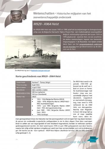 M929 – A964 Heist – Historische mijlpalen van het zeewetenschappelijk onderzoek