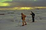 skiers at the shore of the Drake-Strait
