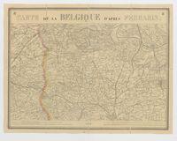 Carte de la Belgique d'après Ferraris, augmentée des plans des six villes principales et de l'indication des routes, canaux et autres traveaux exécutés depuis 1777 jusqu'en 1831. 42 feuilles. I - Gand