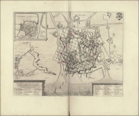 Toonneel der steden van 's Konings Nederlanden, met hare beschrijvingen, Uytgegeven by Joan Blaeu Ostenda obsessa et capta…
