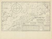 North Sea - C. Griz Nez to Westkapelle.  Kaart om zeeligging te bepalen in de Noordzee, behorend bij het schoolboek Plaatsbepaling op Zee, in Scheepvaart- en Zeevisserijreeks nr. 2 (Menen, 1949).