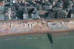 Beach, front and buildings coastal zone Knokke