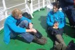 Bestuur Vereniging leraars Wetenschappen (VELEWE) mee op tocht met de Zeeleeuw voor een educatieve tocht (23.08.2010): Michiel Smits (links) en Jan Seys (rechts). [cruise info]
