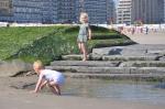 Playing kids near jetty