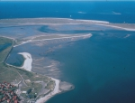 Tidal flats in the north of the island of Sylt. Marked is the Wattenmeerstation Sylt which is part of the Alfred Wegener Institute for Polar and Marine Research.