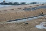 Oostende - werken nieuwe westdam en Zeeheldenplein
