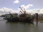 Vissersboot O.33 MARBI gekanteld op slipway