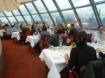 An atmospheric dinner, overlooking the Elbe River and the Harbour.