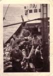 Bemanning met kabeljauwvangst aan boord