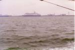Cruiseship aan oude havendam Zeebrugge