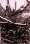 Vissers zijn aan boord aan het werk in haven Zeebrugge