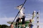 Z.186 Shannon (Bouwjaar 1975) wordt opgetuigd in haven Zeebrugge