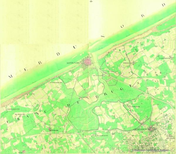 Ostende. Kwartblad 7/1, 7/2, 7/3 en 7/5 - 1771-1778