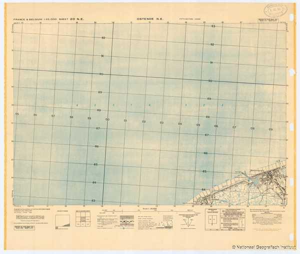 France & Belgium 1:25,000 Sheet 20 N.E. Ostende N.E. - 1944