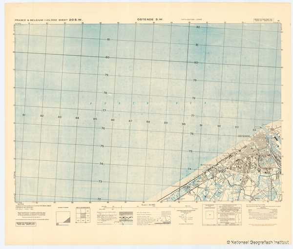 France & Belgium 1:25,000 Sheet 20 S.W. Ostende S.W. - 1944