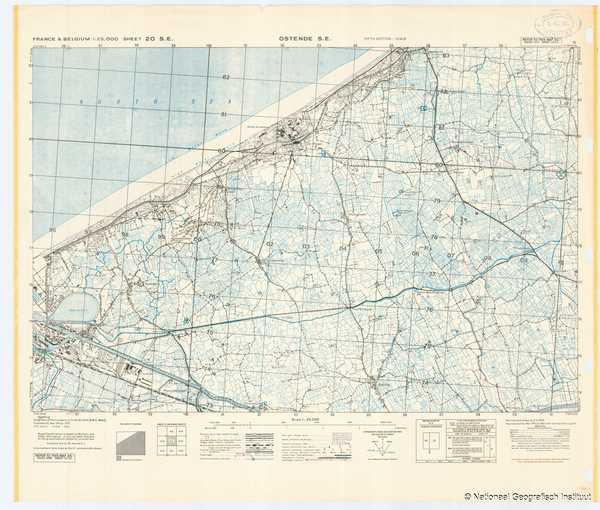 France & Belgium 1:25,000 Sheet 20 S.E. Ostende S.E. - 1944