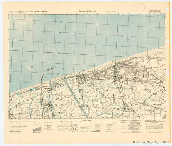 France & Belgium 1:25,000 Sheet 21 N.W. Zeebrugge N.W. - 1944