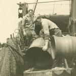 Jeacque De Deutsche (links) en Albert Dobbelaere ('Dip') aan boord