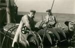 René Cattoor en Leon Vantorre aan boord van de Z.508 Zegen (Bouwjaar 1957), author: Onbekend
