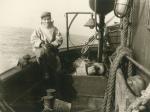 Jozef Bassens aan boord van de Z.449 Zeemanshoop (bouwjaar 1945)