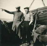 Henri Vandevelde (links) en Frans Ackx op de Z.562 Luc (Bouwjaar 1956), author: Onbekend