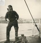 André Van Torre aan boord van de Z.562 Luc (Bouwjaar 1956)