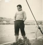 Fran�ois Vanmassenhove aan boord van de Z.562 Luc (bouwjaar 1956)
