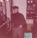 André Van Torre in de machinekamer van de Z.402 Atlantis (Bouwjaar 1963)