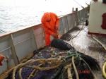 Visser in oliekledij met net aan boord