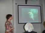 Veterinarian Marjan Doom presenting during a Marine Art session