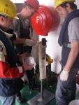 Slicing sediment cores